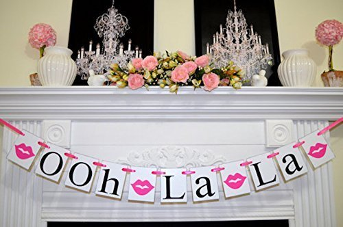 bridal shower decorations ooh la la banner hot pink or red lips bachelorette