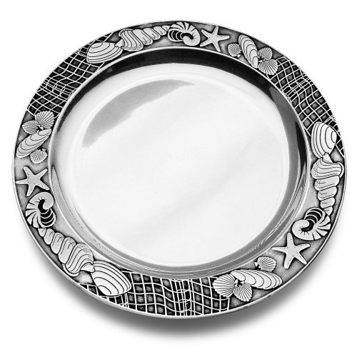 Coastal Christmas Tablescape Décor - Seashore round aluminum alloy serving tray by Designer Wilton Armetale