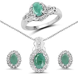 Emerald and White Topaz .925 Sterling Silver Ring, Earring and Pendant Set 2.40ctw. from Johareez