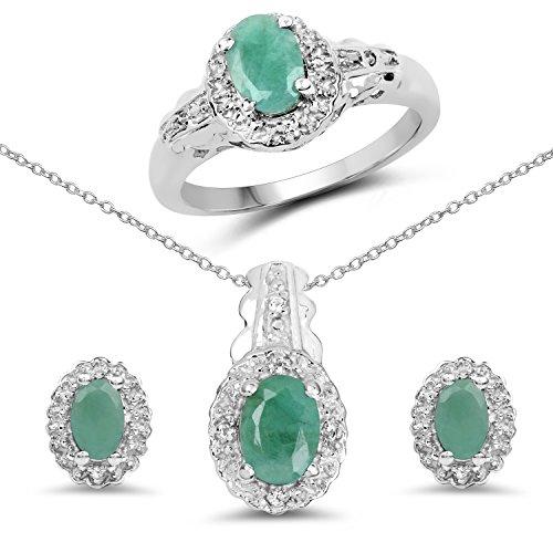 (2.40 Carat Genuine Emerald & White Topaz .925 Sterling Silver Ring, Earrings & Pendant Set)
