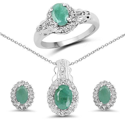 2.40 Carat Genuine Emerald & White Topaz...