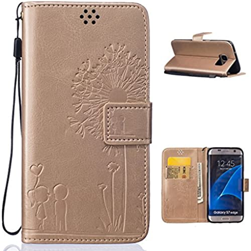 For Galaxy S7 edge (2016) Case , ivencase Cute Couple Magnetic Wallet Card Slot PU Leather Stand Flip Cover for Samsung Galaxy S7 edge (2016) G935 G935F Gold  Sales