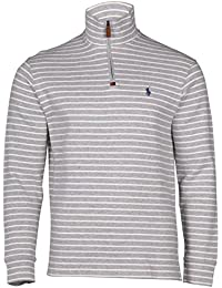 Men's 1/2 Zip Striped Knit Sweater-Andover Heather-Small