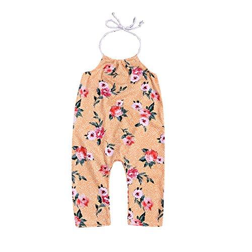 5900d3c1dfa0 Unmega Kid Baby Girl Floral Print Jumpsuit Sleeveless Strap Romper Long  Pants Bodysuit (Yellow