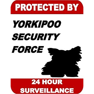 Top Shelf Novelties Protected by Yorkipoo Dog Security Force 24 Hour Surveillance Laminated Dog Sign SP1780 (Includes Bonus I Love My Dog Decal) 4