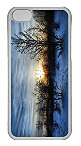 iPhone 5C Case, Personalized Custom Winter Sunset Scene for iPhone 5C PC Clear Case
