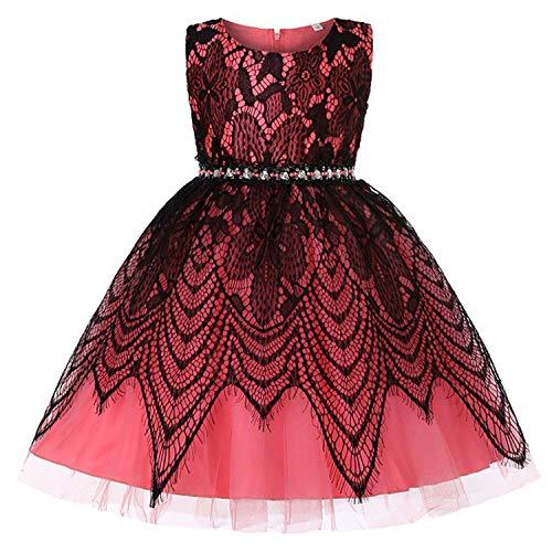 Balalei 2019 Kids Girls Dress Wedding Sleeveless Princess Dress Dresses for Girl Children's Clothing,HotPink,3T