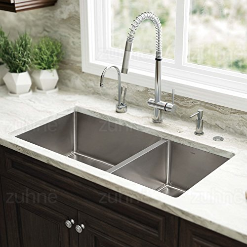 contemporary kitchen sinks undermount zuhne 32 inch undermount 60 40 bowl 16 5731