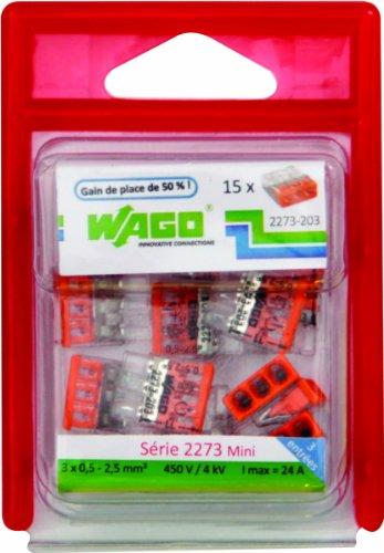 Wago WAG2273/203BL15 Pack de 15 bornes 2273 15 x 3 entrées