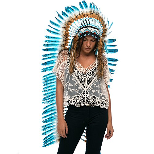 Extra Long Feather Headdress- Native American Indian Inspired- Handmade by Artisan Halloween Costume for Men Women with Real Feathers – Turquoise Racc…