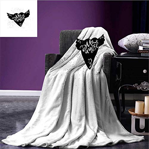 Romantic Throw Blanket Cartoon Heart with Wings My Angel Stylized Lettering Black and White Dirty Look Warm All Season Blanket for Black White Bed or Couch 60
