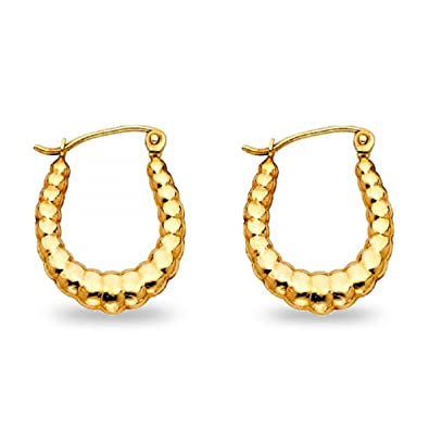 Amazon Com 14k Yellow Gold Oval Shrimp Hoop Earrings Hollow French