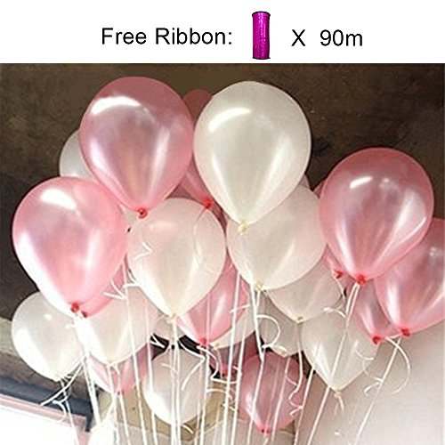 PartyWoo Pink and White Balloons 100 pcs 12 Inch Light Pink Balloons White Balloons Pink Balloons Baby Shower Decorations for Girl for Girls Baby Shower, Disney Princess Party, Girls Christening