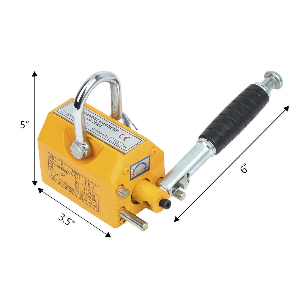 ROADFAR New 100KG Permanent Magnetic Lifter Heavy Duty Crane Hoist Lifting Magnet 220lb