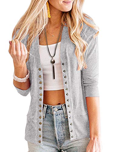 PAPOSON Women's 3/4 Sleeve Cardigan Soft Cotton V-Neck Button Down Front Sweaters Knitwear (Grey,L)