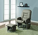 Leatherette Glider Recliner with Matching Ottoman Black