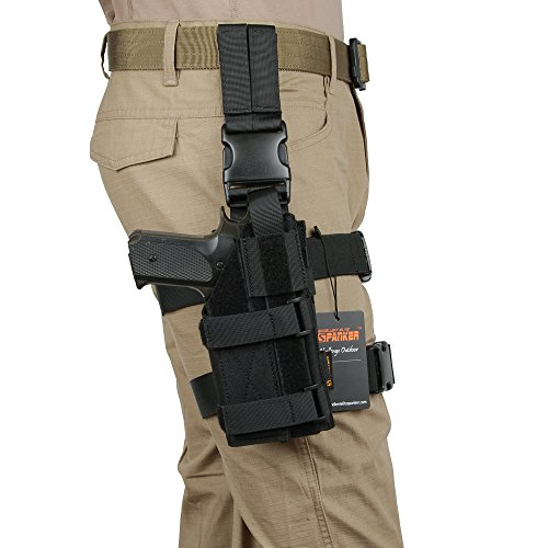 Excellent Elite Spanke Tactical Nylon Leg Mag Pouch with Adjustable Right Leg Mag Pouch(Black)