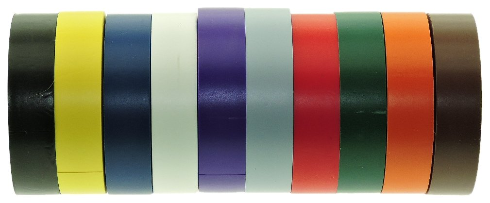 10 Colors 3/4'' Electrical Tape UL 723 Code Black Gray Blue Red Green White Orange Purple Yellow Brown Contractor Grade Pro Pack PVC Vinyl Rubber Adhesive Marking Labeling Coding 7 mil .75 in 66' Roll