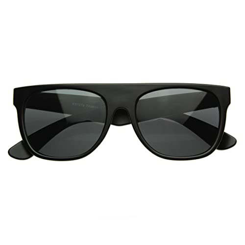 13bf94013a4c Image Unavailable. Image not available for. Color: Modern Retro Flat-Top  Aviator Style Sunglasses Super Flat Clean Shades (Matte Black)