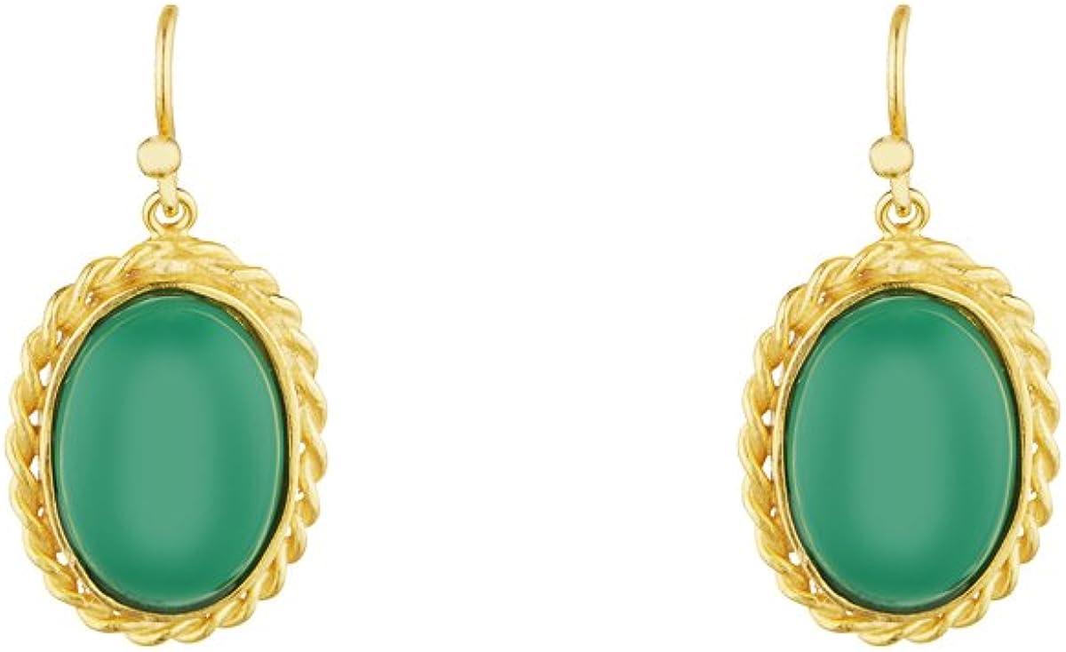 Córdoba Jewels | Pendientes en plata de ley 925 bañada en oro con piedra semipreciosa con diseño Oval Nudo Esmeralda Hippie Gold