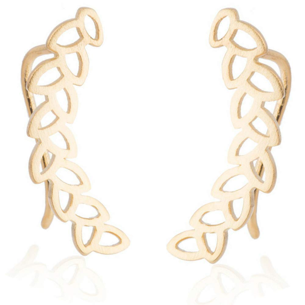 Leaf Climber Earrings Feather Crawler Wrap Bohemian Jewelry (Gold) by Soul Statement