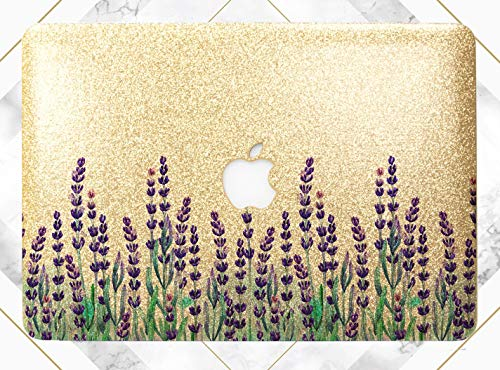 (Purple Meadow Flowers Gold Rose Gold Hard Plastic Glitter Case Cover For Apple Macbook Air 11 13 Macbook 12 Macbook Pro 13 15 Inch 2016 2017 2018 With Retina Display Touch Bar)