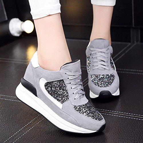 GIY Womens Hidden Heel Platform Tennis Sneakers - Round Toe High Top Increased Height Wedge Bootie Shoes Gray Xx5ZVjt