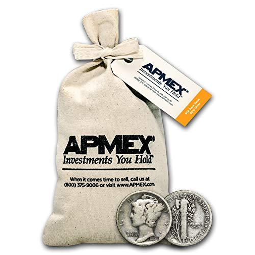1916-1945 90% Silver Mercury Dime $50 Face-Value Bag Avg Circ Dime Very Good