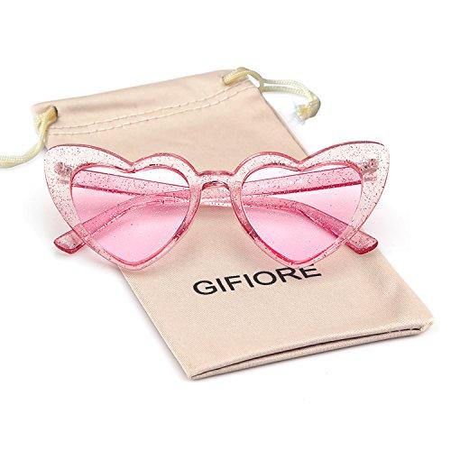 Clout Goggle Heart Sunglasses Vintage Cat Eye Mod Style Retro Kurt Cobain Glasses (Clear Pink ()