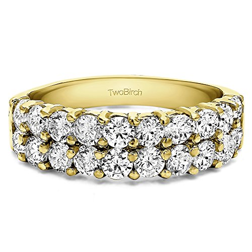Yellow Plated Silver CZ 1.5 CT Double Row Double Shared Prong Ring (Size 3 To 15 1/4 Size Interval)