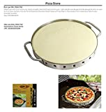 Man Law BBQ Products MAN-PS2 Series Ceramic Pizza Stone with Stainless...