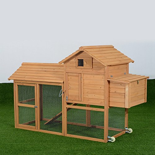 Pawhut deluxe portable backyard chicken coop with fenced for Portable chicken coop on wheels