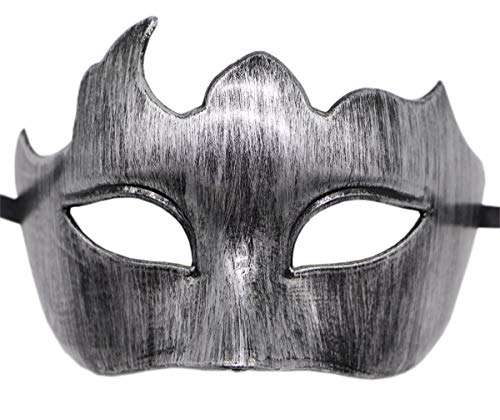 Mens Masquerade Mask Vintage Greek Roman Mask Venetian Party Mask Halloween Mardi Gras Mask (Z Antique Silver Black) -