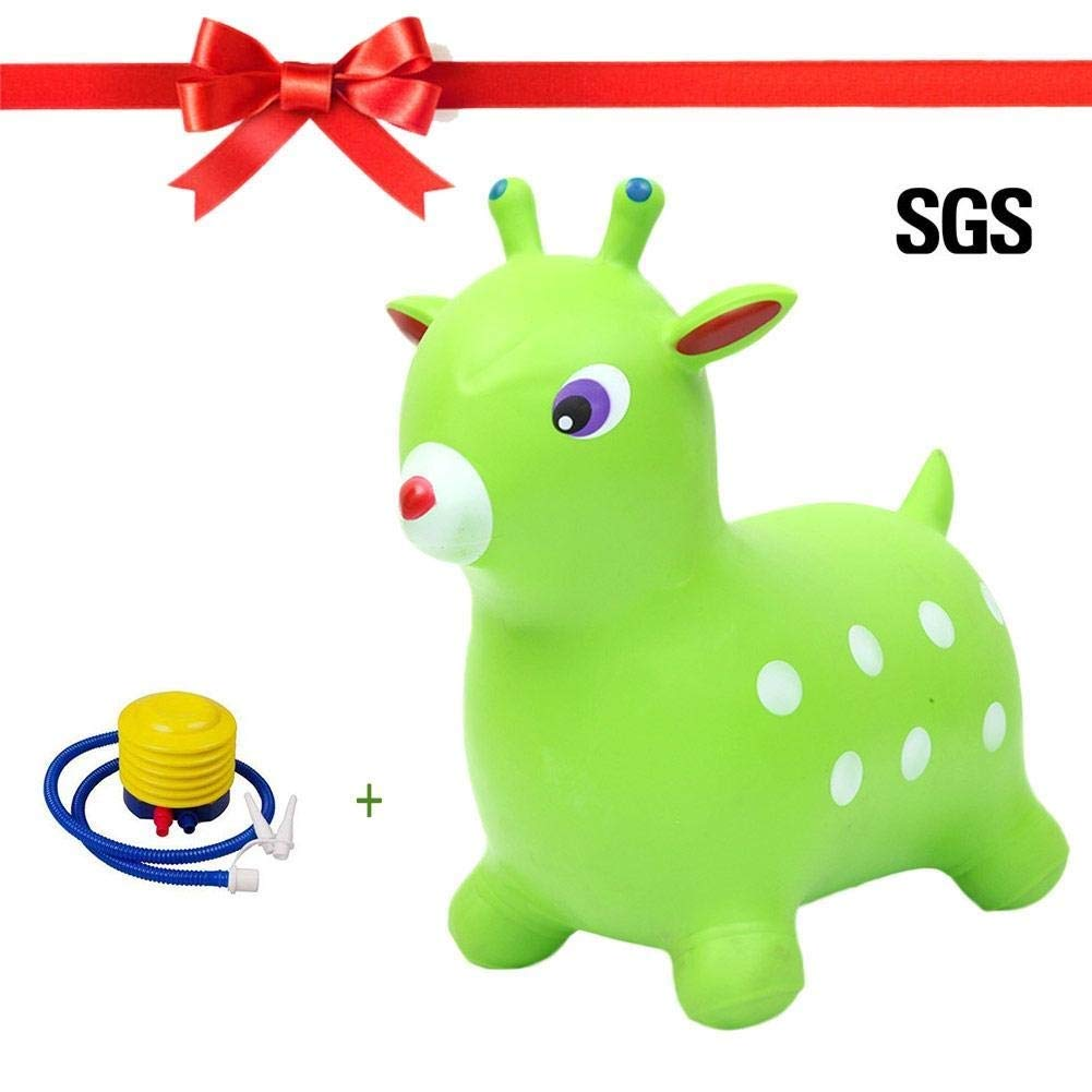 WHTBB Green Horse Hopper, Pump Included (Inflatable Jumping Horse, Space Hopper, Ride-on Bouncy Animal) by WHTBB