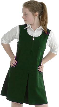 GIRLS 2 BUTTON BOX PLEAT PINAFORE SCHOOL UNIFORM DRESS BOTTLE GREEN UK