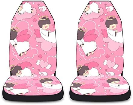 CUXWEOT Pink Cartoon Angels Car Seat Covers for Front Set of 2 Vehicle Seat Protector Car Pet Mat Fit Most Car,Truck,SUV,Van