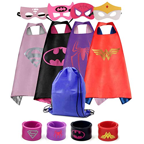 Dress up Costume Girls Superhero Capes and Mask Set 4 Charaters with Drawstring Backpack and Matching Shaped Rubber Wristbands for Kids, Birthday Party -