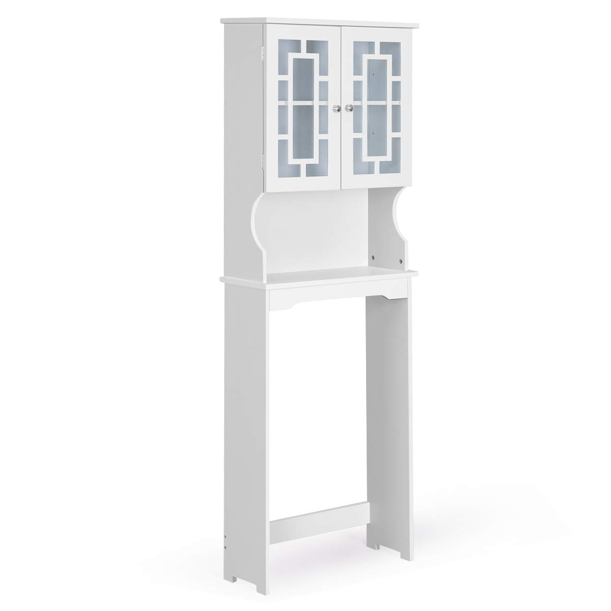 Giantex Over-The-Toilet Bathroom Storage Space Saver W/Shelf and 2-Door Collect Cabinet (White) by Giantex