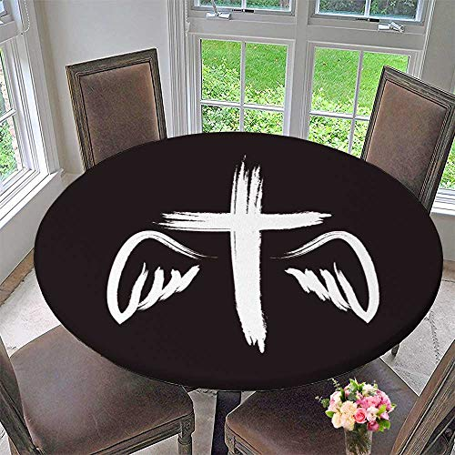 (PINAFORE HOME Round Tablecloths Crucifix Symbol of Death and Salvation or Everyday Dinner, Parties 47.5