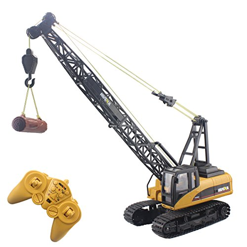 (Fistone RC Truck Crawler Tower Crane Hoist Dragline Die-cast Model Lifiting Cable Remote Control Excavator Tractor Digging Engineering Toy Construction Vehicle)