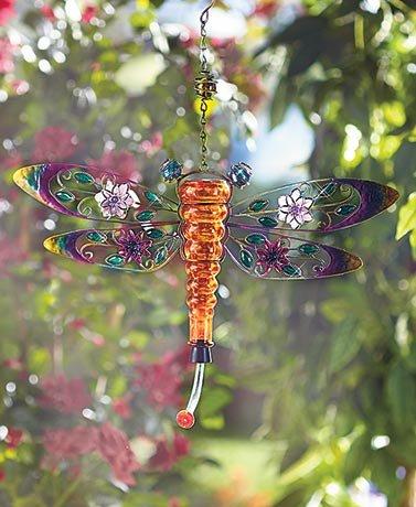 SHERRI'S HOME & GARDEN Metal and Glass Hummingbird Feeders (Dragonfly)