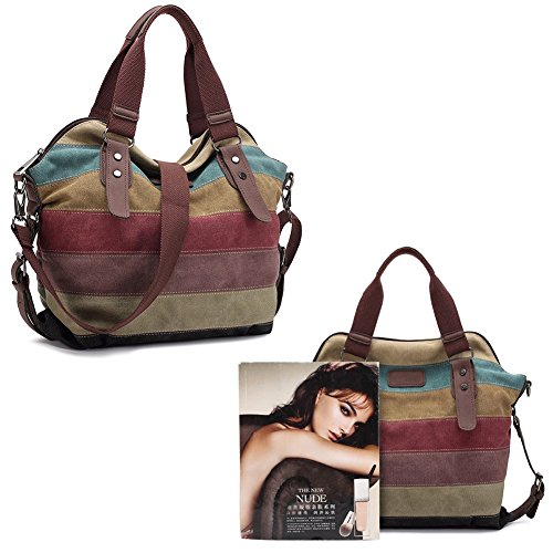 VRIKOO Womens Canvas Multi-Color Striped Tote Handbag Hobos Shoulder Crossbody Bags