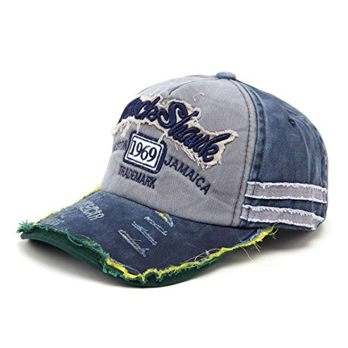 Paymenow Classic Unisex Baseball Cap Fashion Embroidered Letter Adjustable Washed Dyed Cotton Ball Hat (Navy) (Season Clothing Cap)