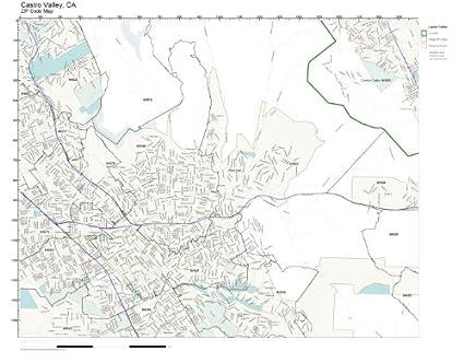 Amazon Com Zip Code Wall Map Of Castro Valley Ca Zip Code Map