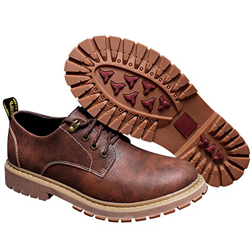 Shenn Mens Work Space Casual Comfort In Pelle Crosta Con Stringhe Stringate Oxford Scarpe Marrone