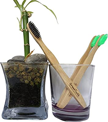 Greentooth Bamboo Charcoal Toothbrush | Eco-Friendly | Soft & Medium Bristles | BPA free | Natural Sustainable Option | Pack of 4 for Adults