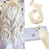 Bleaching Hair Until White - Moresoo 20 inch 50strands/50g I Tip Cold Fusion Hair Extensions White Blonde Color 60 100% Remy Human Hair Extensions Pre Bonded Stick I Tip Hair Extensions