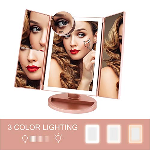 FASCINATE Trifold Lighted Makeup Mirror 3 Color Lighting 72 LEDs Makeup Vanity - Kinds Different Bathroom Mirrors Of