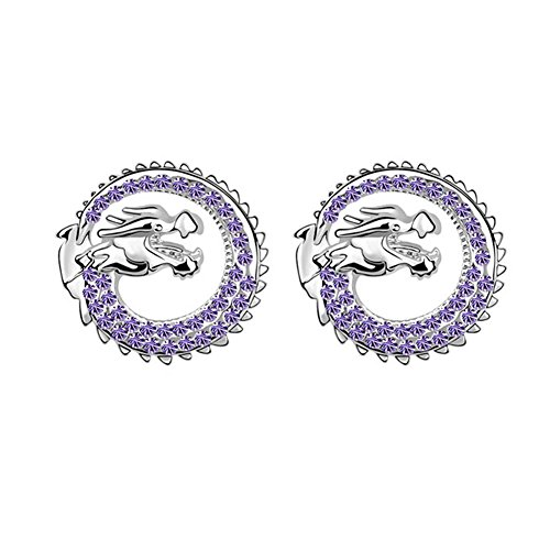 Element Amethyst Ring - White Gold Plated Luck Dragon Swarovski Cubic Zirconia Crystal Elements Stud Earrings Fashion Jewelry (Amethyst Purple)