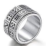 JINSHIYINYU 14MM Men Fashion Vintage 316L Stainless Steel Spinner Game Dice Finger Ring